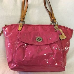 COACH LEAH Large Patent Leather Signature Tote